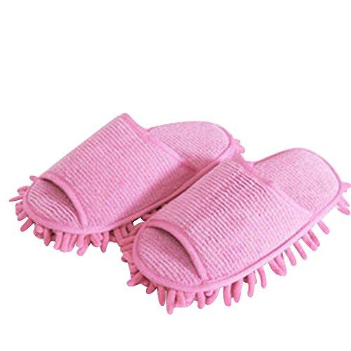SAGUARO® Multifunción de polvo de limpieza de suelos de la fregona los deslizadores de los zapatos limpios para casa Cocina Baño Dormitorio rosa