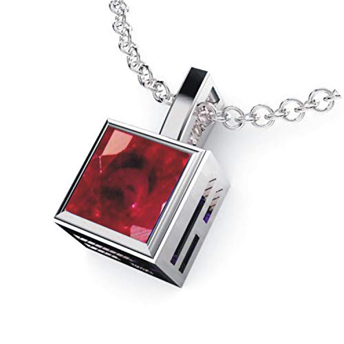 Solid Sterling Silver Square Shaped Bezel Set 2.2 CTW Lab-Grown Ruby Pendant Necklace with Anchor Chain, High Polished Pendant Necklace for Women, Bridal Pendants ()