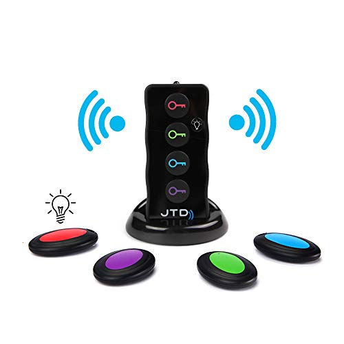 JTD Wireless RF Item Locator/Key Finder with LED Flashlight and Base Support. with 4 Receivers Key Finder-Wireless Key RF Locator, Remote Control, Pet, Cell, Wireless RF Remote Item, Wallet Locator