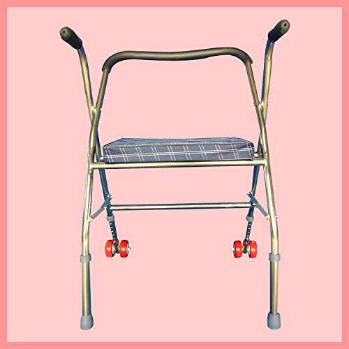 Walker Stainless Steel Folding Elderly Disabled Wheel Tape Block Walker Walker with Padded Seat by jiaminmin
