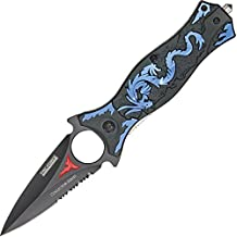 TAC Force TF-707BL Assisted Opening Folding Knife, Black Half-Serrated Blade, Blue Dragon Handle, 4-1/2-Inch Closed