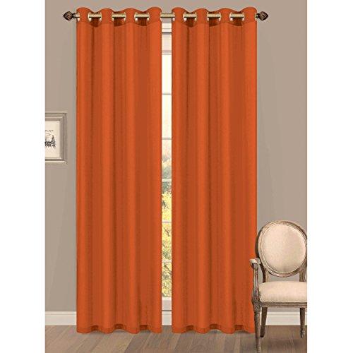 Window Elements Primavera Semi-Sheer Crushed Microfiber 55 x 84 in. Grommet Curtain Panel, Orange (Window Covering Ideas)