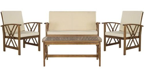 Fontana 4 piece Outdoor Seating Set, 4-PIECE SET, TEAK FINISH & BEIGE CUSHIONS