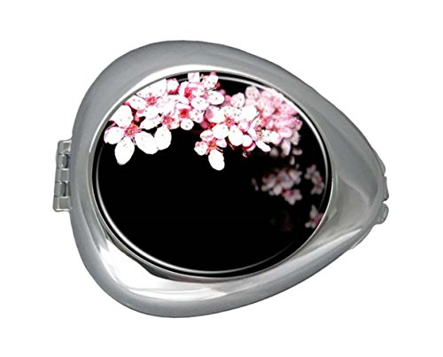 Compact Medicine - DANIEL MOXLEYB Pill Box Case Decorative Boxes Silver Pill Box Holder Organizer Container Compact 3 Compartment Medicine Case, Oval Pill Box For Pocket or Purse (Falling Flower Cherry Blossom)