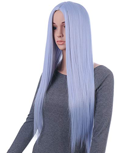 Onedor 31 Inches Silver Blue Straight Long Synthetic Hair Women Full Head Cosplay Wig with Wig Cap