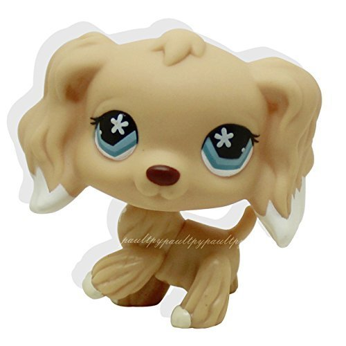 #748 Rare Littlest Pet Shop Brown Cocker Spaniel Dog Flower Eyes Animal LPS Toy