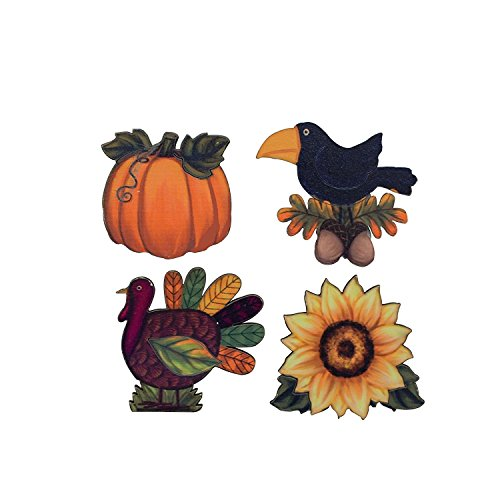 Y&K Decor 4 Assorted Woodblock Printing Fall Ornaments