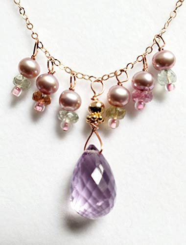 - Pink Amethyst Tourmaline Pearl Chain Necklace