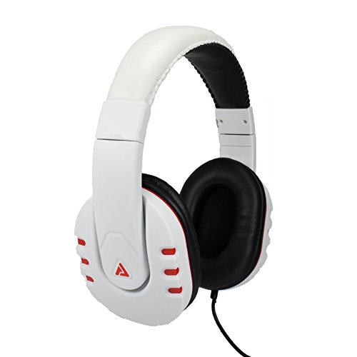 Audio Council Onyx Premium DJ Style Over-Ear Headphones (White/Red)