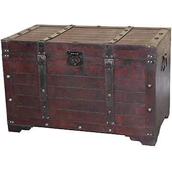 Delicieux Vintiquewise QI003269L Antique Cherry Large Wooden Storage Trunk