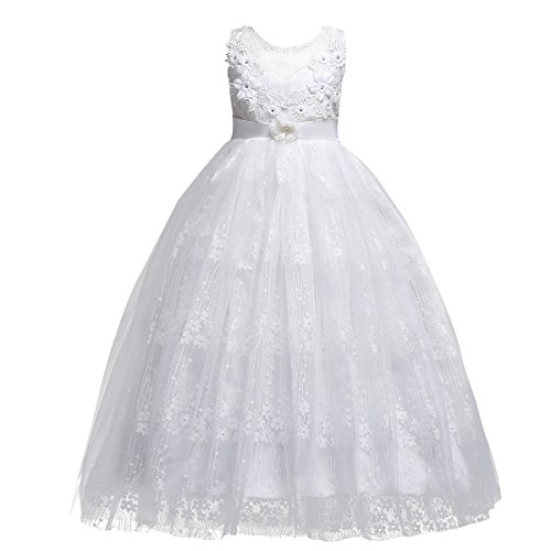 Little Big Girls'Tulle Retro Vintage Dresses Flower Lace Pageant Party Wedding Floor Length Dance Evening Gown White #1 7-8 Years -