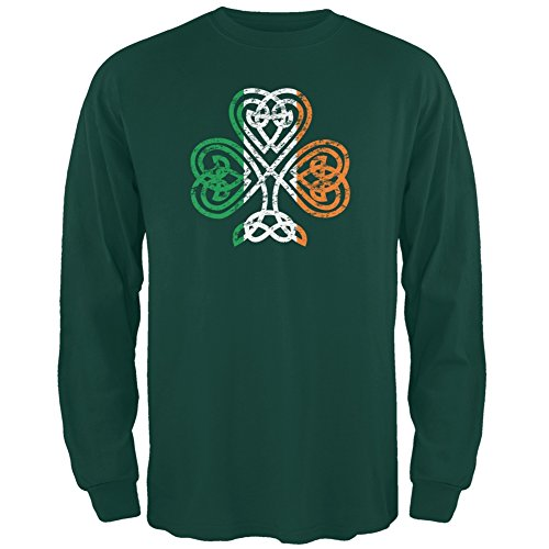 St. Patricks Day - Shamrock Celtic Knot Forest Green Adult Long Sleeve T-Shirt - Large Adult Shamrock Tee T-shirt
