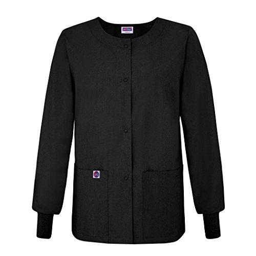 Sivvan Women's Scrub Warm-Up Jacket/Front Snaps - Round Neck - S8306 - BLK - M