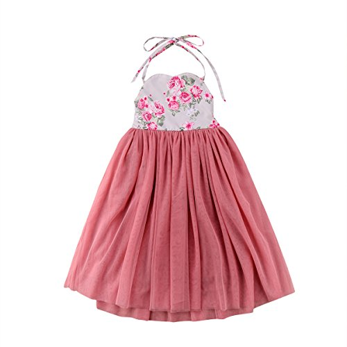 2018 Baby Girls Halter Floral Pink Princess Long Summer Dress for Party Birthday Beach (5-6 Years, Pink)