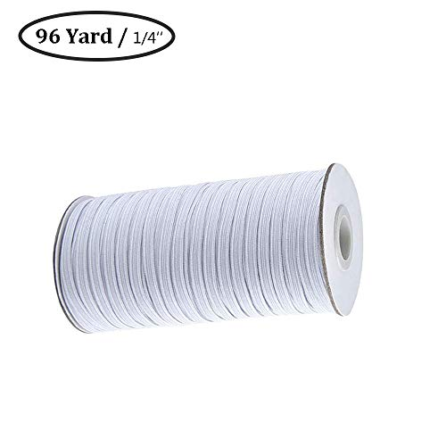 White 96-Yards Length 1/4-Inch Width Braided Elastic Cord,Elastic Band,Heavy Stretch Knit Elastic Spool for Sewing Crafts DIY,Mask,Bedspread,Cuff(0.25 inch Elastic)