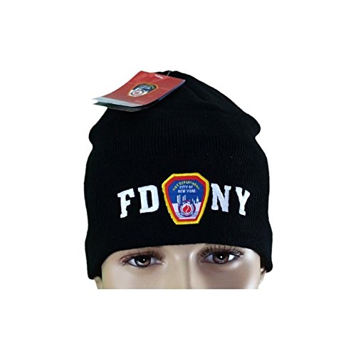FDNY No Fold Winter Hat Beanie Skull Cap Officially Licensed Black nycfactory-11199205b