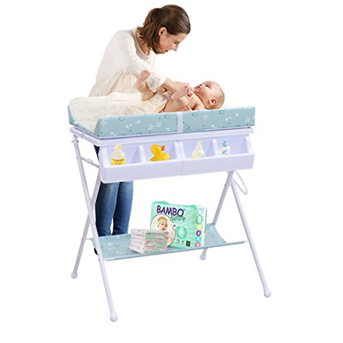 MD Group Baby Changing Table Foldable Steel Green Cushioned Infant Bath Diaper Storage by MD Group