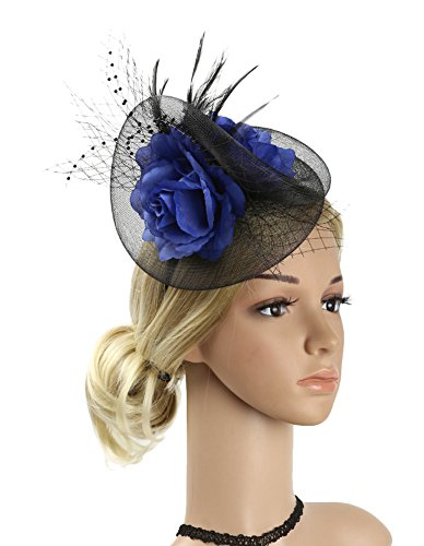Women Hats 1940 (Urban CoCo Women's Bow Feather Net Veil Fascinator Hair Clip Bridal Hat (#2-Blue))
