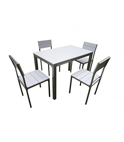 Abitti Conjunto de Mesa + sillas Xobe, para Comedor, Salon o Cocina en  Color Blanco y Gris, Tanto para sillas como Mesa, con una Resistente  Estructura ...