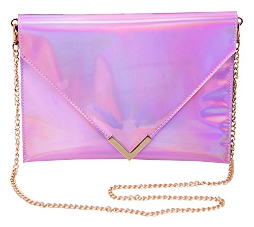 Rainbow Chain Bag Handbag Envelope Clutch Remeehi Leather Purse Pink Holographic Pu Women's Shoulder 5PxZqCU