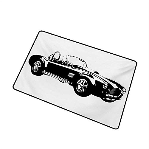- Becky W Carr Cars Welcome Door mat Silhouette Classic Sport Car Ac Cobra Roadster American Antique Engine Autosport Door mat is odorless and Durable W23.6 x L35.4 Inch,Black White