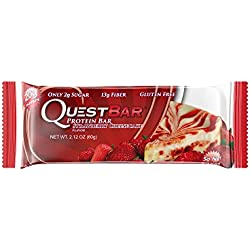 Quest Nutrition Protein Bar, Strawberry Cheesecake, 20g Protein, 5g Net Carbs, 180 Cals, High Protein Bars, Low Carb Bars, Gluten Free, Soy Free, 2.1 oz Bar, 12 Count