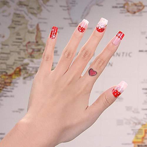 NYJNN False Nails24Pcs/box back Adhesive False Nails Red Pink Style Xmas Snowflake Full Cover Fake Nail Art Tips Christmas Gift Decorations TY