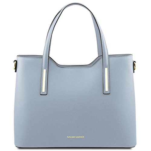 Tuscany Leather Olimpia Leather tote Light Blue by Tuscany Leather