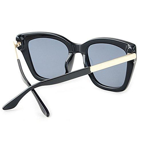 Gafas sol Ojos acetato UV TAC mujer para de gato de conducción vacaciones Gafas polarizadas de de Color gran de de de Fiesta sol Marco fibra Lente Negro irregulares Protección Negro tamaño P8gZPxT