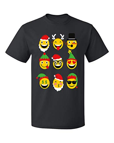 (Christmas Animated Emoji Faces Men's T-Shirts Crew Neck Tee Shirts for)