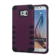 Galaxy S6 Edge+ Case, Pandawell™ 3-piece Hybrid Defender High Impact Body Armor Hard PC & Silicone Rubber Case Protective Cover for Samsung Galaxy S6 Edge Plus (Purple/Black)