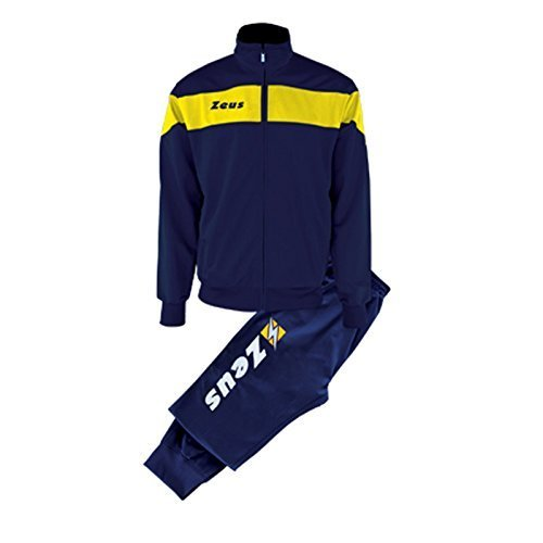Zeus Herren Sportanzug Trainingsanz/üge Running Laufen Training Sport Set Trikot Shirt Shorts Hosen TUTA APOLLO BLAU GELB 3XL