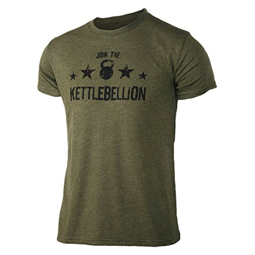 Jumpbox Fitness Join the Kettlebellion Military Green Men's Kettlebell Triblend Workout T-shirt