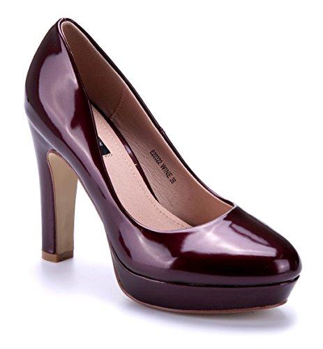 Schuhtempel24 Damen Schuhe Plateau Pumps Rot Blockabsatz 11 cm High Heels