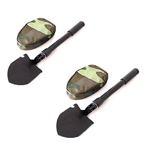 New (2) Multi-Tool Folding Shovel with Pouch, Camping Field Gear Survival Tool. Great for Emergency Situations to keep in Car, Truck. Garden Shovel by Unknown