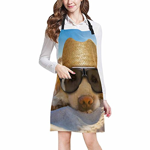 InterestPrint Funny Retriever Dog Relaxing at the Summer Beach Chef Aprons Professional Kitchen Chef Bib Apron with Pockets Adjustable Neck Strap, Plus Size