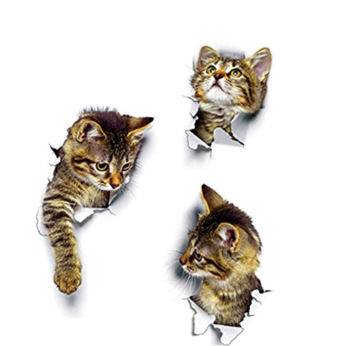 WillowswayW 3D Cat Pattern Wall Art Sticker Toilet Lid Cover Decal Bathroom Decoration by WillowswayW (Image #3)