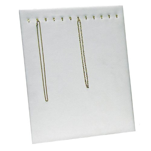 White Leather Jewelry Necklace/Chain Display Stand Board ~ Holds 12 Necklaces or Chains