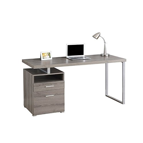 Monarch Metal Computer Desk, Dark Taupe/Silver, 60