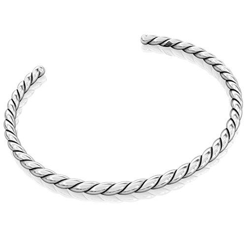 Silver Belle Bracelet Sterling (Authentic BELLA FASCINI Cuff Bangle European Bead Charm Bracelet - Solid Twisted Sterling Silver - #15)