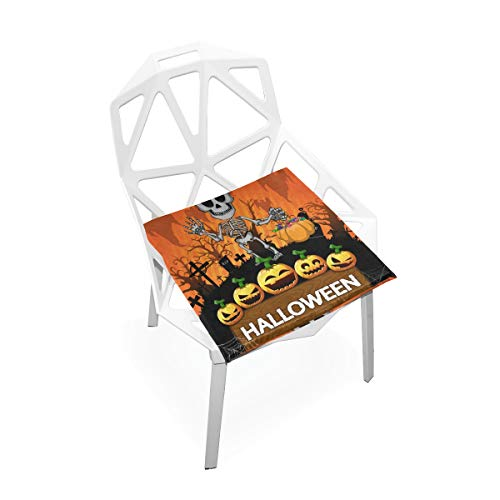 SUABO PLAO Chair Pads Halloween Poster with Skeleton Soft Seat Cushions Nonslip Chair Mats for Dining, Patio, Camping, Kitchen Chairs, Home Decor