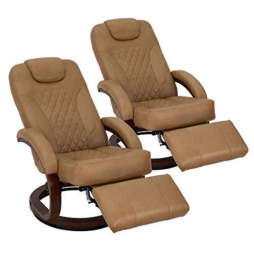 RecPro Nash 28″ RV Euro Chair Recliner | Modern Design | RV Furniture | Swivel Base | Recliner Chair (2 Pack, Toffee)