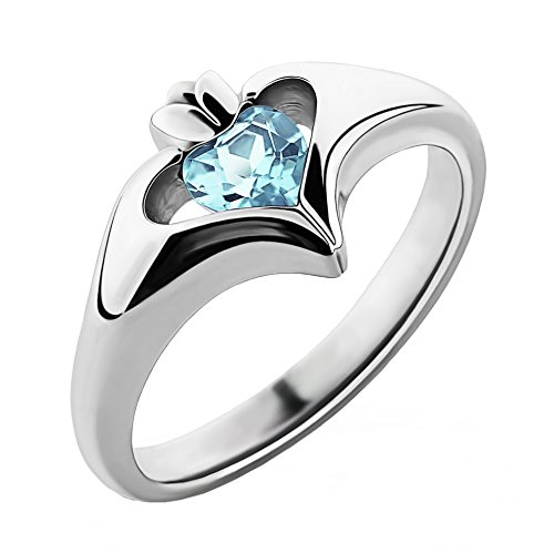 Sterling Silver Sky Blue CZ ULS-16434SB Ladies Modern Claddagh Ring (6)