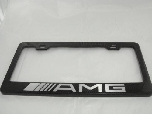 Amg Cl65 Benz Mercedes (Mercedes Benz AMG Gloss Black Carbon Fiber License Plate Frame with Black Caps)