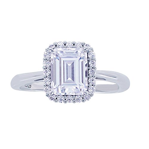 Platinum-Plated Sterling Silver Simulated Diamonds Framed Emerald Cut Ring, Size 9 - Emerald Cut Diamond Ring Settings