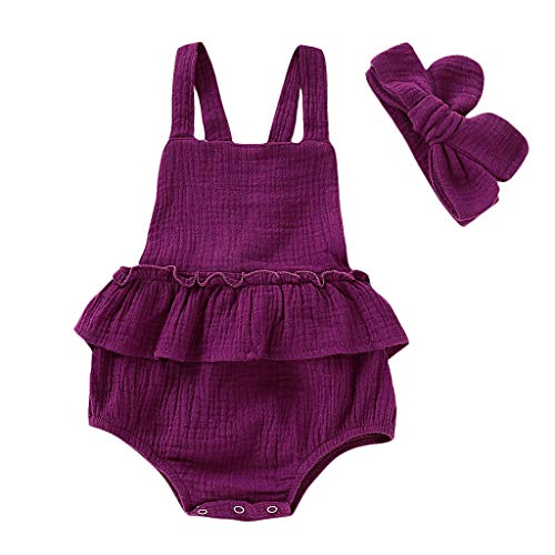 (LiLiMeng Summer Toddler Kid Baby Girls Strap Ruffled Solid Color Romper Jumpsuit Sunsuit Wine)