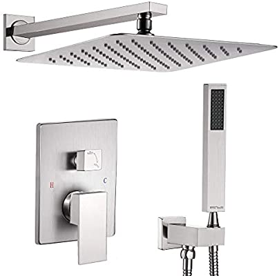 Ceiling Mount Shower Faucet Set Matte Black 12 Inch Square Showerhead Bathroom Rainfall Shower System SUS304 Stainless Steel Shower Trim Kit 2 in 1 Cylindrical Handheld shower with Rough-in Valve