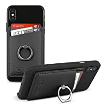 Gear Beast Smart Phone Wallet Card Case with Ring Grip Stand for Apple iPhone iPad Samsung Galaxy and Almost All Cases and Phones, Slim Stick On Card ID Holder Wallet for Men and Women (Black)