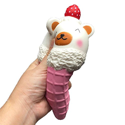 Dreamyth Squishy Toy Jumbo Colossal Pineapple Bun Bread Super Soft Slow Rising SqueezeToy Relieve Stress Toy Gift New (Strawberry Ice :18.5X8.5cm) - Ice Skating Polar Bear