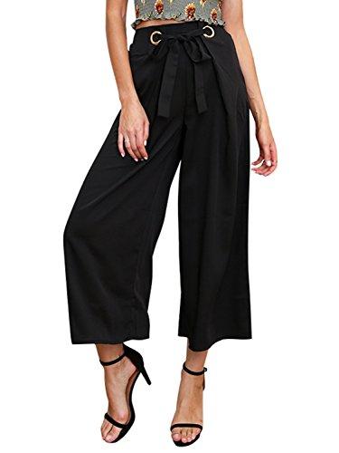 Simplee Women Ladies Casual Loose Wide Leg High Waist Belted Palazzo Pants, Black, 8, Medium